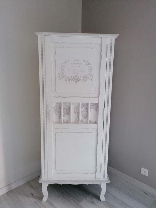relooking restauration de meubles ancien chambre armoire chevet commode bonnetière miroir patine shabby blanc gris le mans sarthe