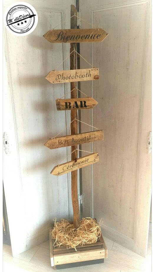 Le support en bois pour les panneaux personnaliser de direction location decoration mariage vintage champetre le mans sarthe m'elledecors