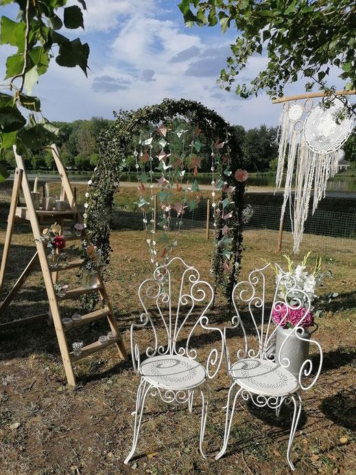 photobooth mariage le mans sarthe chaise fer forgé champêtre