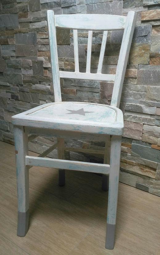 relooking de meuble chaise recup dans son jus etoile gris bleu blanc bois bureau enfant le mans sarthe