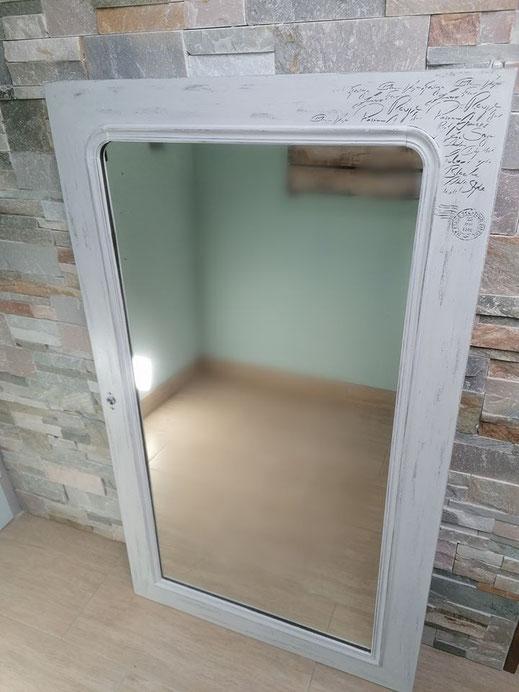 relooking de meuble le mans sarthe le perche miroir porte blanc patine