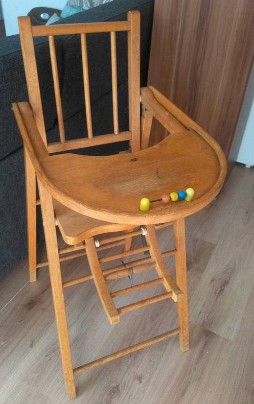 relooking de meuble chaise haute bebe gris patine le mans sarthe