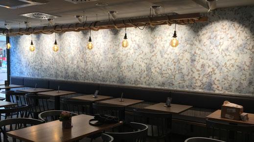 Wandgestaltung - Patina - Kreativtechnik von GERZEN wand-design im Nordsee Restaurant Ulm