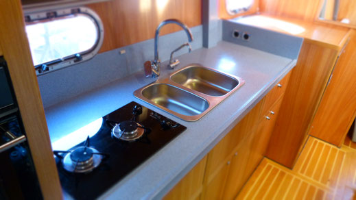 Modern high quality kitchen in the passagemaker motor boat