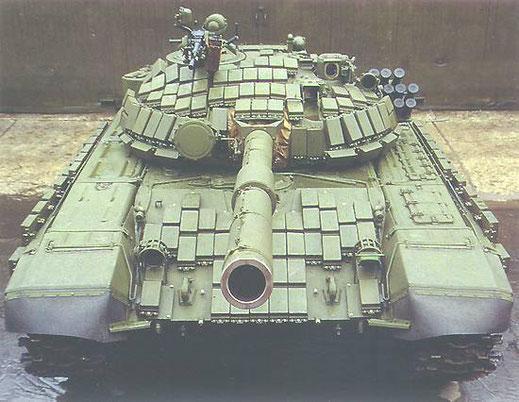 Ce T-72 soviétique utilise massivement les briques constituant le blindage réactif
