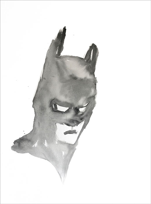 Batman (#34), 2020, Aquarell auf Papier, 59,4 x 42 cm