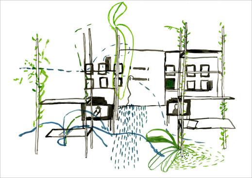 Exhibition, 2003, Tusche und Ecoline auf Papier, 42 x 29,7 cm