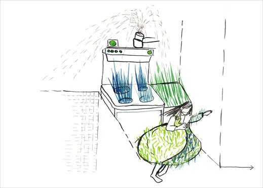 Kitchen Dance, 2003, Tusche und Ecoline auf Papier, 42 x 29