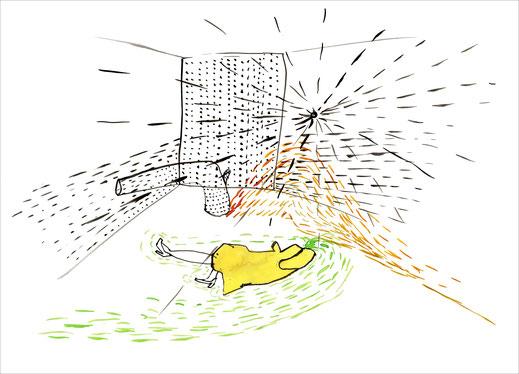 Yellow Lady (Headless), 2003, Tusche und Ecoline auf Papier, 42 x 29,7 cm