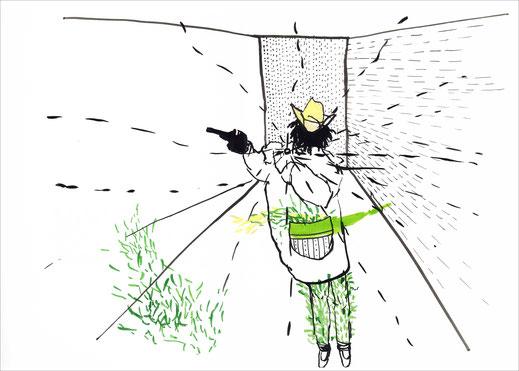 Cowboy With A Yellow Hat, 2002, Tusche und Ecoline auf Papier, 42 x 29,7 cm