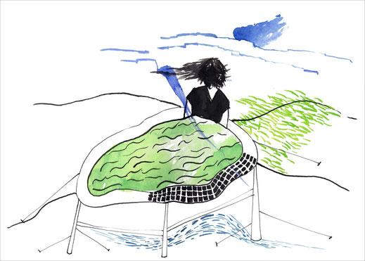 The Pool, 2004, Tusche und Aquarell auf Papier, 29,7 x  21 cm