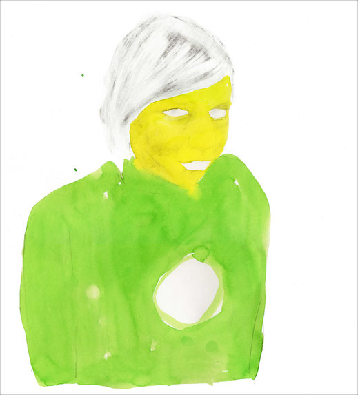 Eileen, 2006, Bleistift und Ecoline auf Papier, 42 x 43 cm