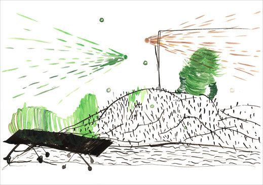 Im Kugelhagel, 2003, Tusche und Ecoline auf Papier, 42 x 29,7 cm