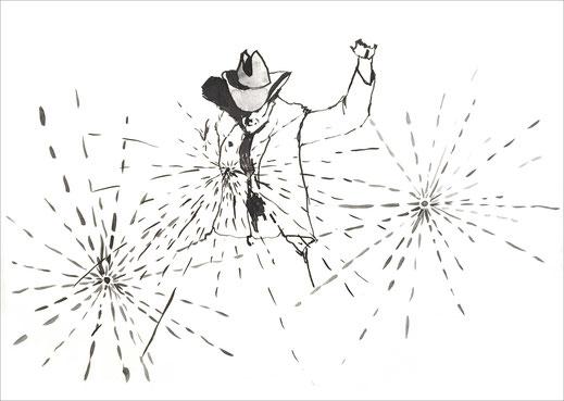 Cowboy`s Life, 2002, Tusche auf Papier, 42 x 29,7 cm
