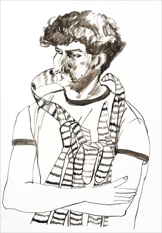 Hakan Lyndon im T-Shirt, 2011, Tusche auf Papier, 59,7 x 84 cm