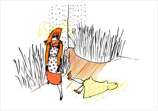 *Dress To Kill, 2003, Tusche und Ecoline auf Papier, 59,4 x 42 cm