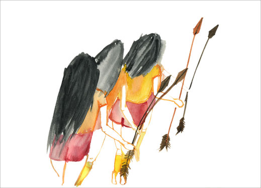 Vier Mädchen mit roten Shorts, 2003, Aquarell auf Papier, 27,5 x 21 cm