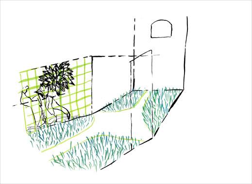 Badezimmer, 2003, Tusche und Ecoline auf Papier, 42 x 29