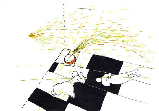 Bedroom With A Compas, 2005, Tusche und Ecoline auf Papier, 42 x 29,7 cm