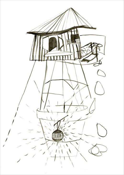 Blumentopfhaus, 2007, Tusche auf Papier, 42 x 59,4 cm