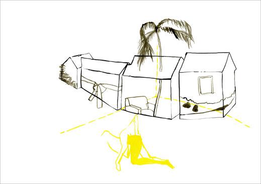 Offspring, 2004, Tusche und Ecoline auf Papier, 59,4 x 42 cm