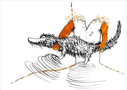 Krokodyl, 2003, Tusche und Ecoline auf Papier, 59,4 x 42 cm