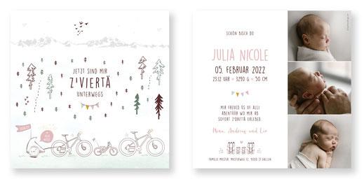 Geburtsanzeige mit Velo Fahrrad Schweiz Fahrradanhänger zu viert zu dritt