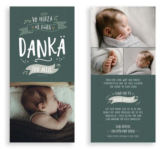 Dankeskarte Baby Geburt kartendings Schiefertafel original selbst gestalten kreativ