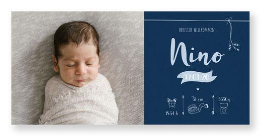 Geburtsanzeige Schweiz Federn Junge kartendings.ch Geburtskarte Baby
