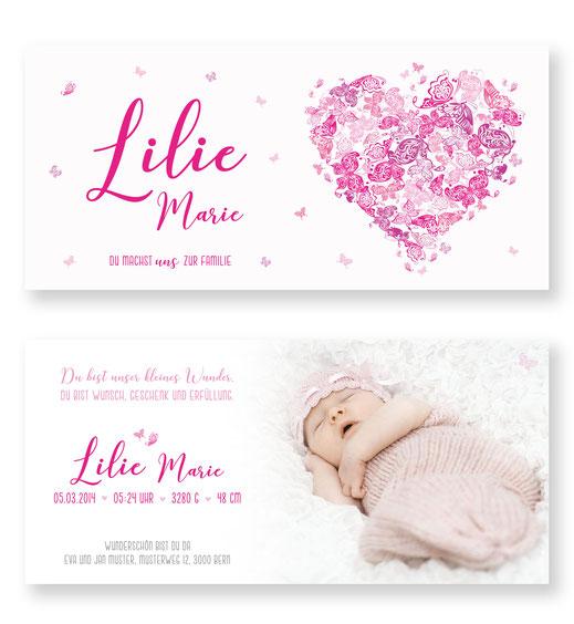 Geburtsanzeige Mädchen Babykarte Schweiz kartendings Schmetterling pink rosa