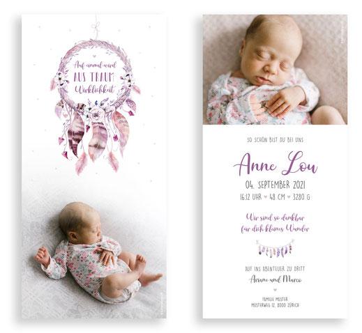 Traumfänger Mädchen Geburtskarte Schweiz Geburtsanzeige kartendings