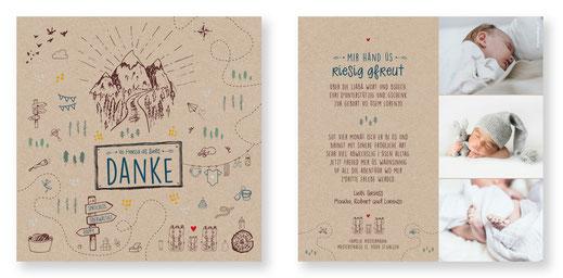 Dankeskarte Schweiz Geburt Baby kreativ spezial