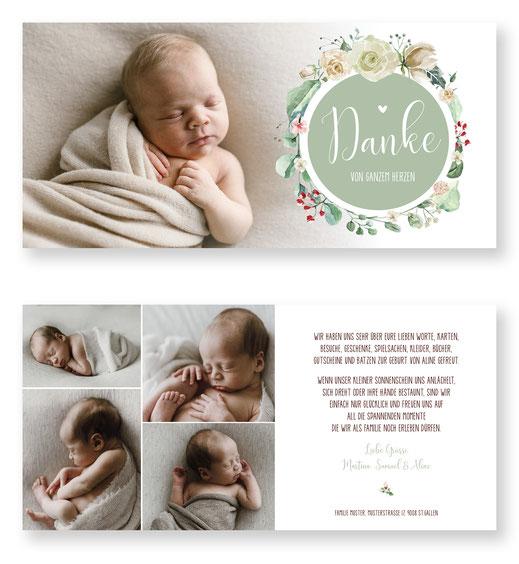 Dankeskarte Baby mit Foto Schweiz für Mädchen kartendings.ch