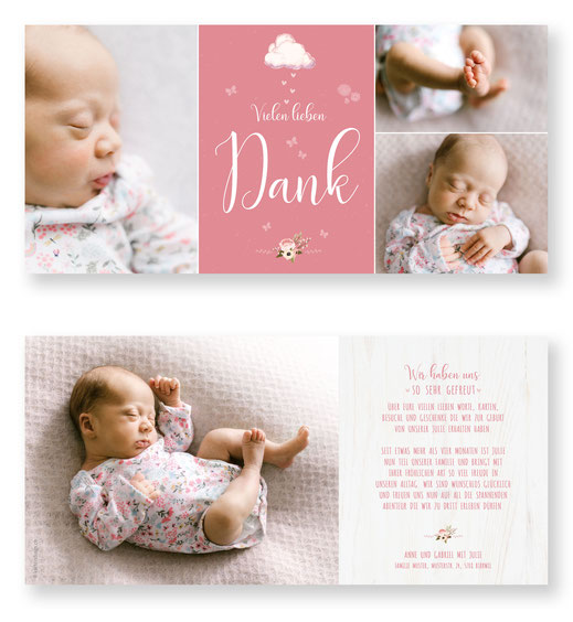 Dankeskarte Geburt Baby Schweiz kartendings.ch