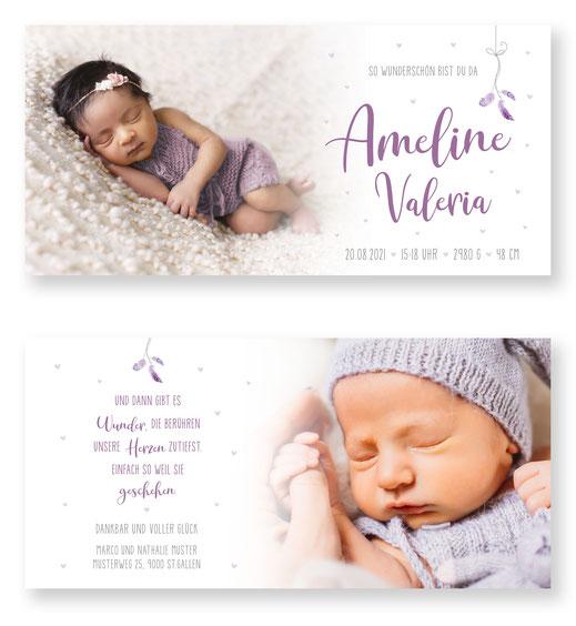 Geburtsanzeige Federn für Jungen Schweiz kartendings.ch Geburtskarte