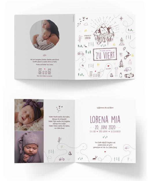 Geburtskarte Geburtsanzeige Schweiz Kartendings.ch 4-seitig Klappkarte