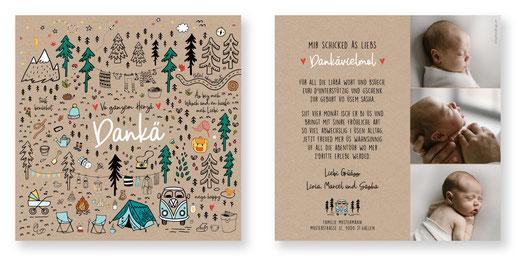 Dankeskarte Baby Danke Karte Geburt Camping VW Bus RV kreativ originell Schweiz kartendings.ch Outdoor