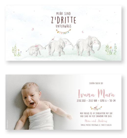 Geburtskarte Elefant Elefantenfamilie Karte für Baby karntendings.ch