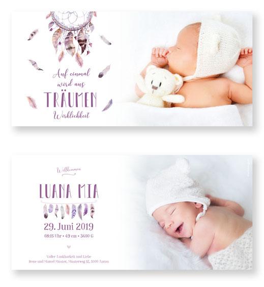 Geburtskarte Traumfänger Schweiz Kartendings Geburtsanzeige