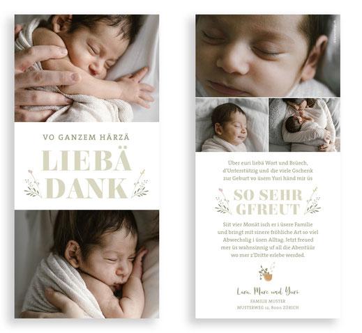 Geburtskarte Pflanze Dankeskarte kreativ Baby Geburt