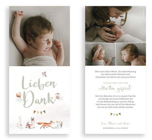 Dankeskarte Baby Stillen Geburt Schweiz kartendings.ch