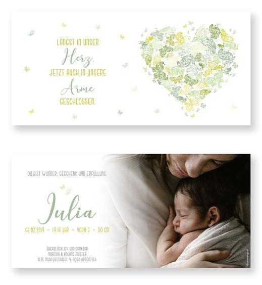 Geburtsanzeige Mädchen Babykarte Schweiz kartendings Schmetterling