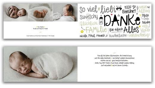 Dankeskarte 4-seitig Baby Schweiz kartendings.ch
