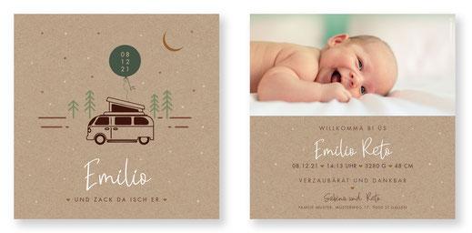 Geburtskarte Luftballon kreativ speziell Geburtsanzeige Baby Schweiz kartendings