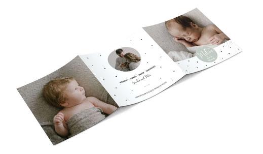 Geburtsanzeige Babykarte Geburtskarte Schweiz kartendings.ch 6-seitig
