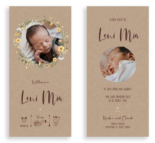 Geburtskarte Geburtsanzeige mit Velo Kindervelo Schweiz kartendings.ch