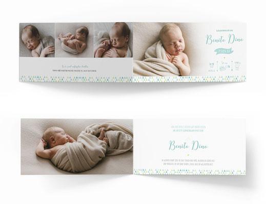 Geburtskarte Geburtsanzeige 4 seitig kartendings.ch
