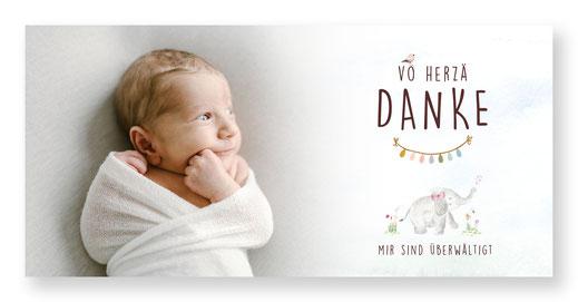 Dankeskarte Schweiz Baby Danksagungskarte Elefantenfamilie kreativ speziell