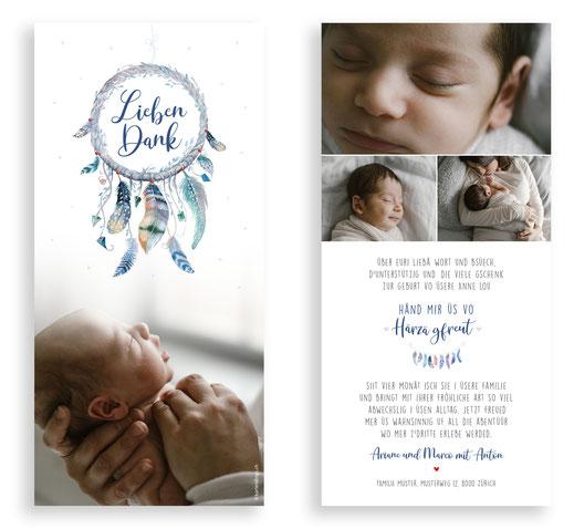 Traumfänger Dankeskarte Baby Schweiz kartendigns Karte Dankeschön  Geschenke