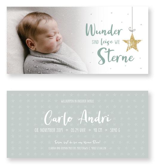 Geburtskarte mit Sternen Kartendings Schweiz